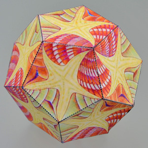 Escher mosaic on dodecahedron