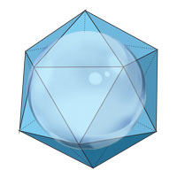 radius of an inscribed sphere of icosahedron