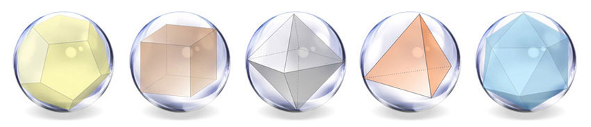 Platonic solids inside the sphere