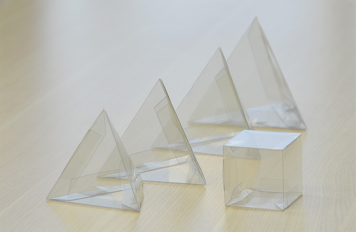 plastic tetrahedron or cube