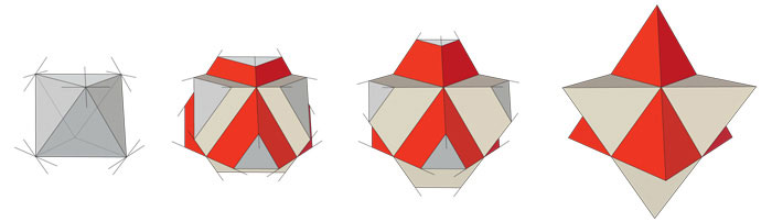 Stellated octahedron piecemeal
