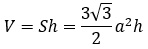 formula for the volume of a hexagonal prism