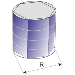 radius of a cylinder of a hexagonal prism